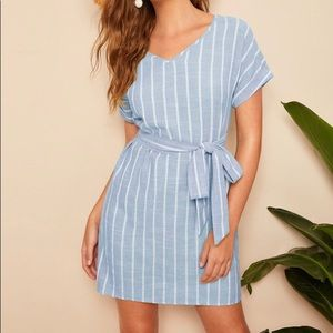 Summer Striped Blue Dress with Wait Tie NWOT